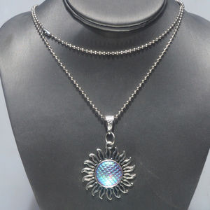 Conceptual Subculture Jewelry - Psychedelic Fish Scale Sun Silver Pendant Necklace